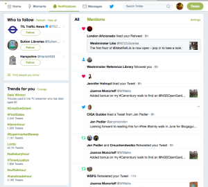 Screen shot of Twitter mentions