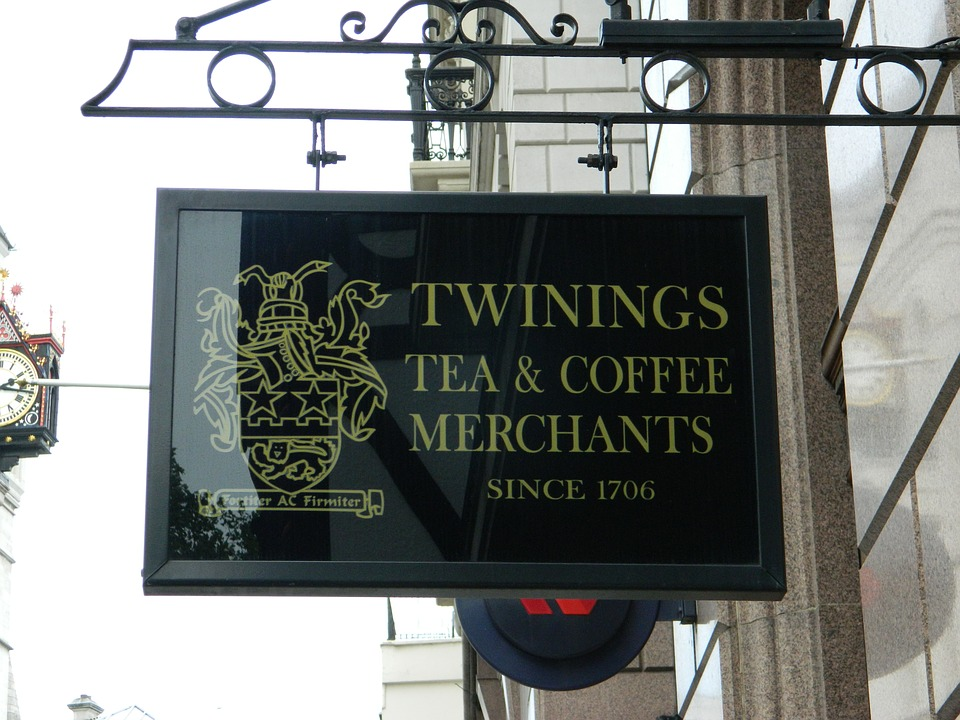 Twinings tea and coffee sign