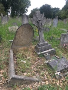 Partly collapsed graves in Queen's Road Cemetery, Walthamstow