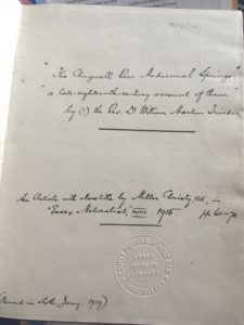 Cover page to manuscript